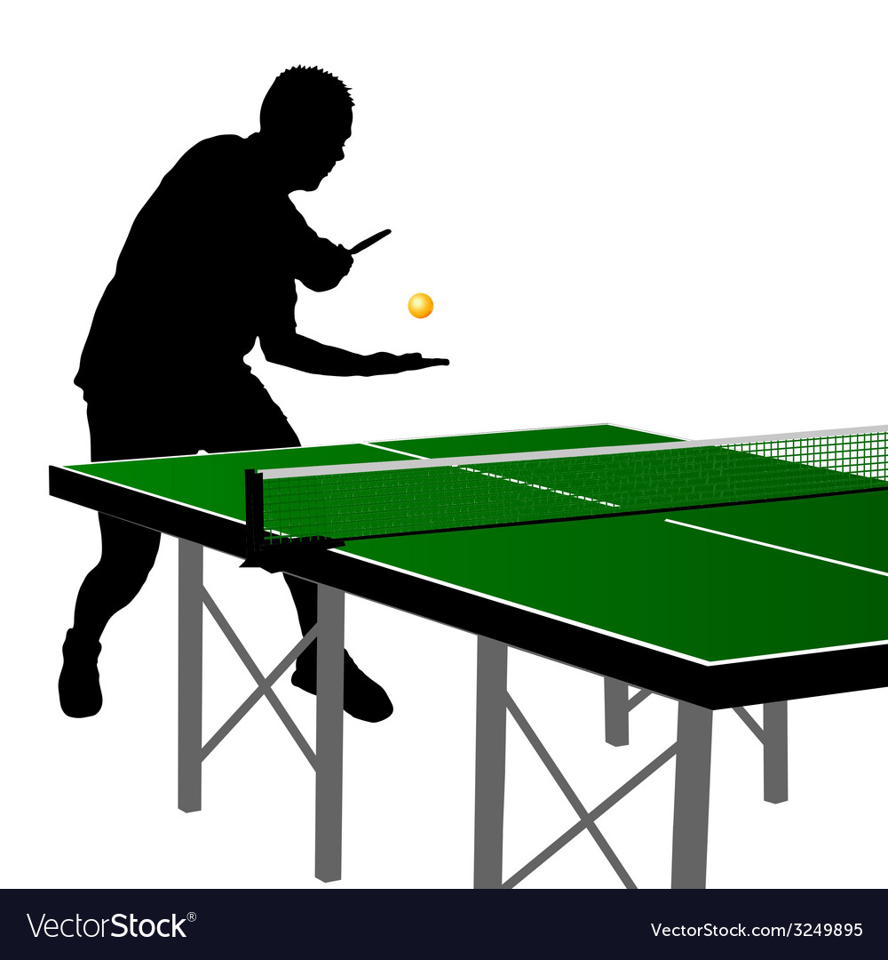 Ping pong player silhouette 2 vector | Price: 1 Credit (USD $1)