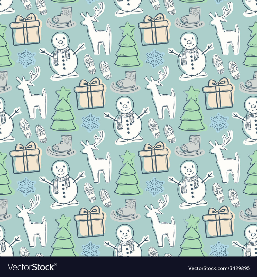Seamless pattern with snowman vector | Price: 1 Credit (USD $1)