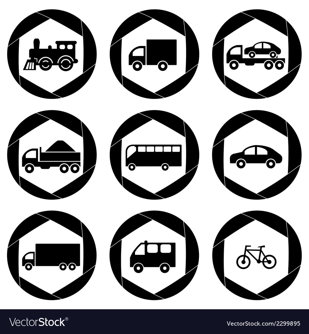 Transport monochromatic icons vector | Price: 1 Credit (USD $1)