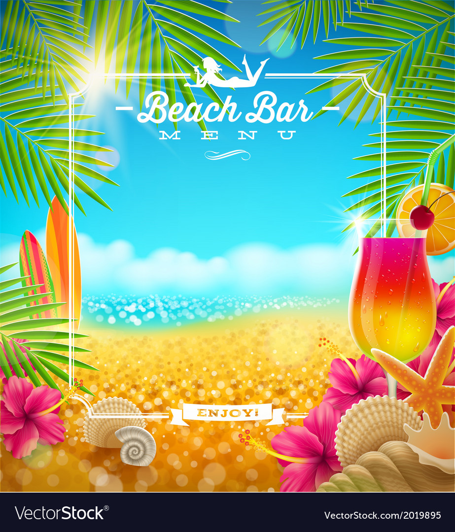 Tropical summer vacation beach bar menu design vector | Price: 1 Credit (USD $1)