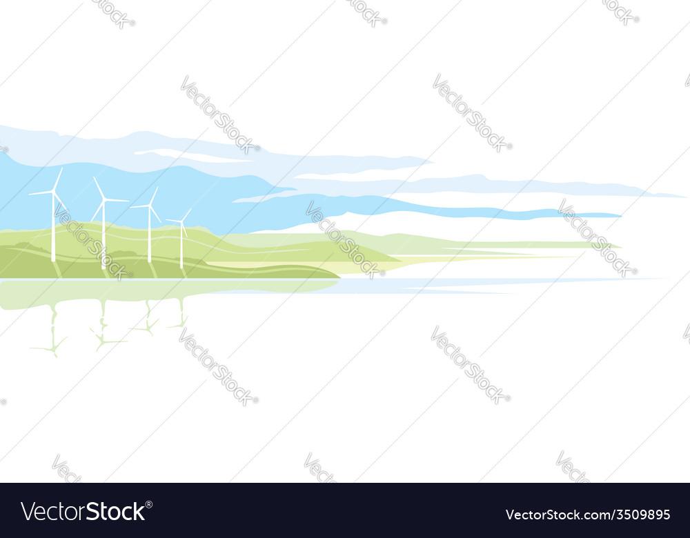 Wind generator landscape vector | Price: 1 Credit (USD $1)