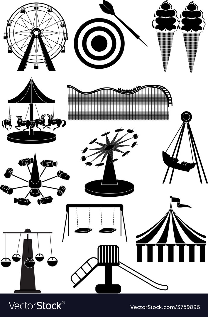 Amusement parks carnival icons set vector | Price: 3 Credit (USD $3)