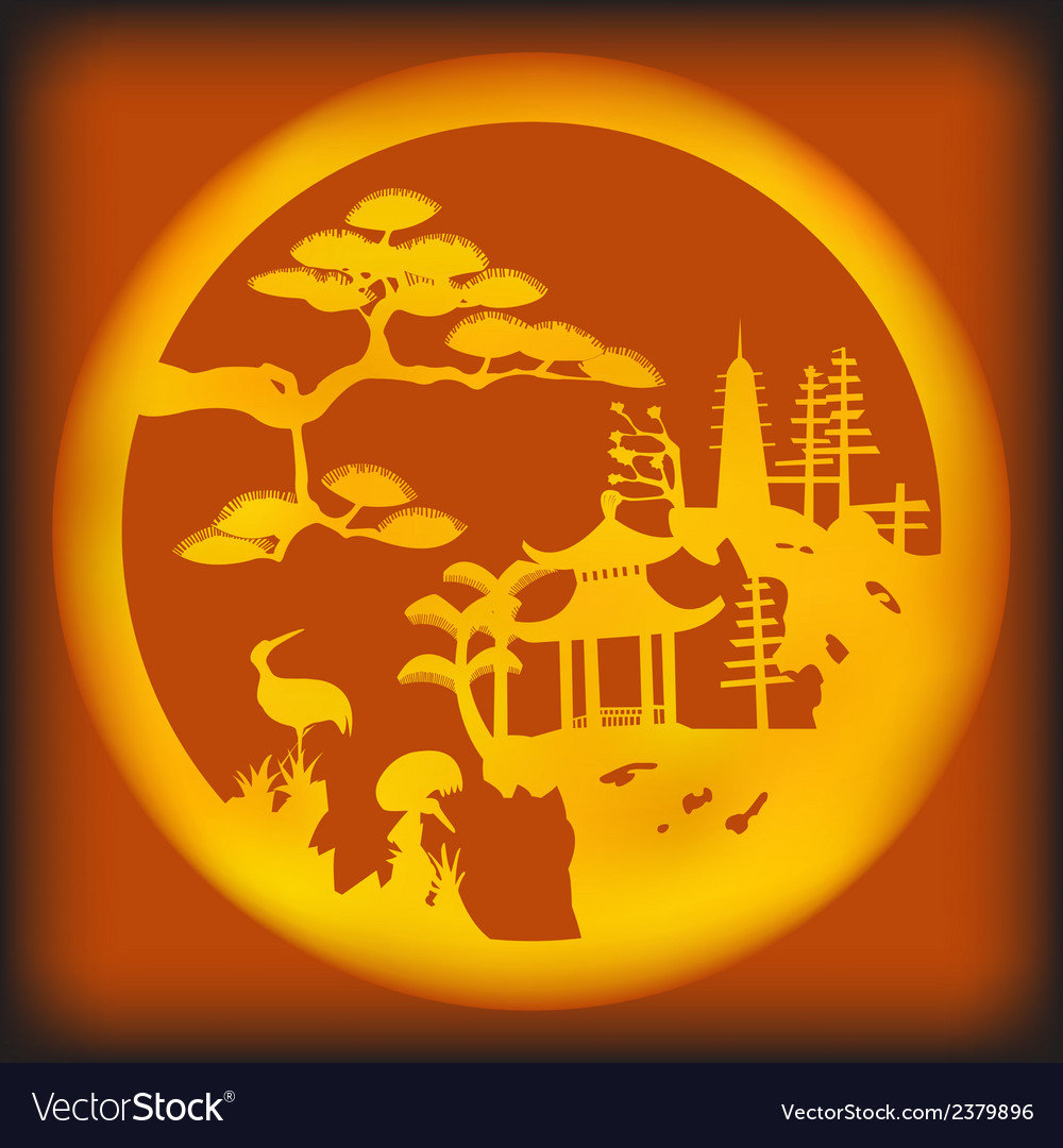 Asian landscape vector | Price: 1 Credit (USD $1)