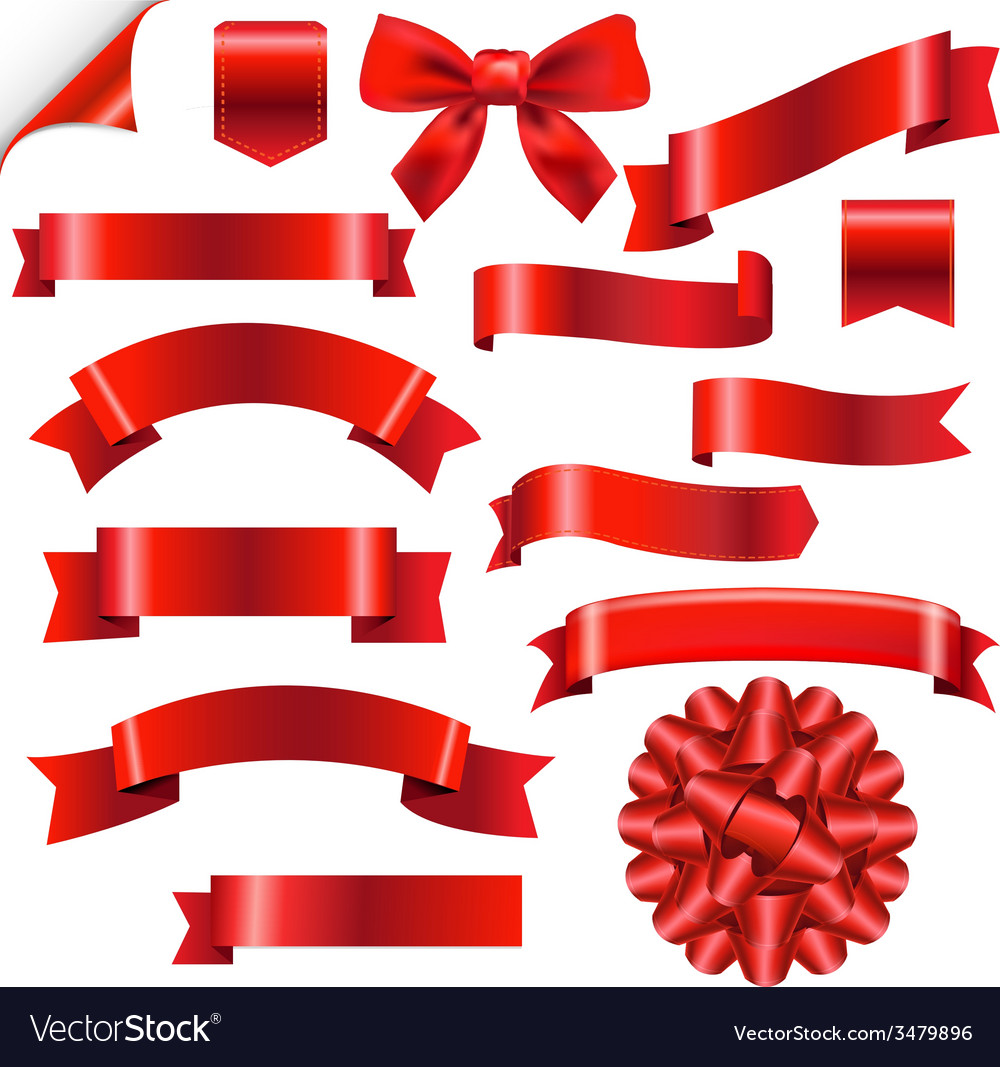 Big red ribbons set vector | Price: 1 Credit (USD $1)