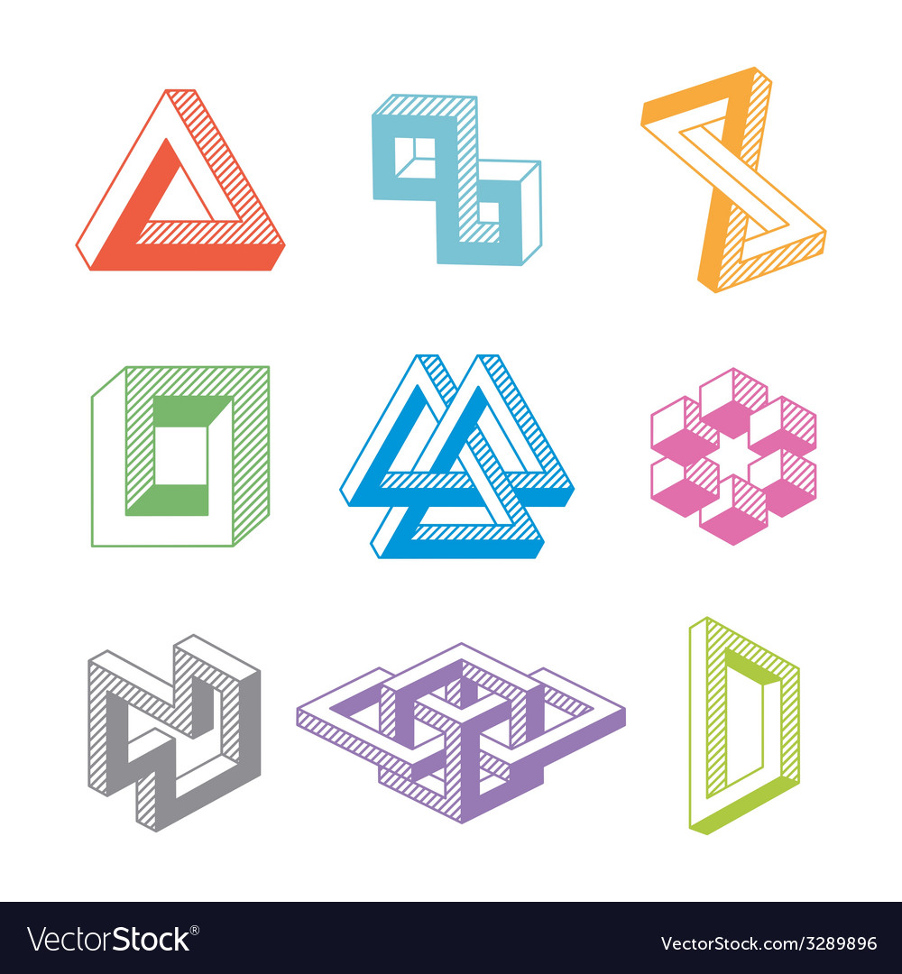 Colorful impossible geometric shapes vector | Price: 1 Credit (USD $1)