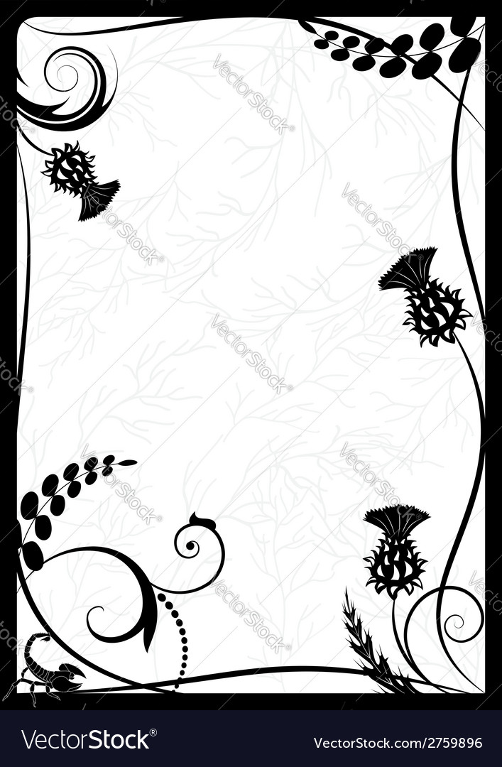 Frame with thistle and scorpion vector | Price: 1 Credit (USD $1)