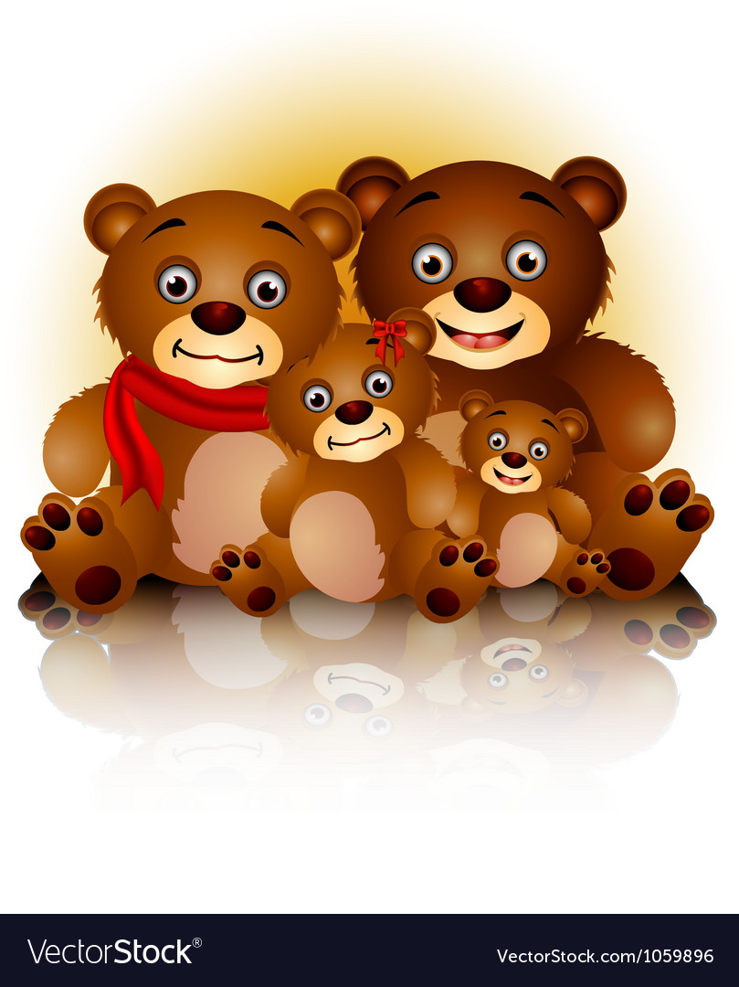 Happy bear family in harmony and love vector | Price: 1 Credit (USD $1)