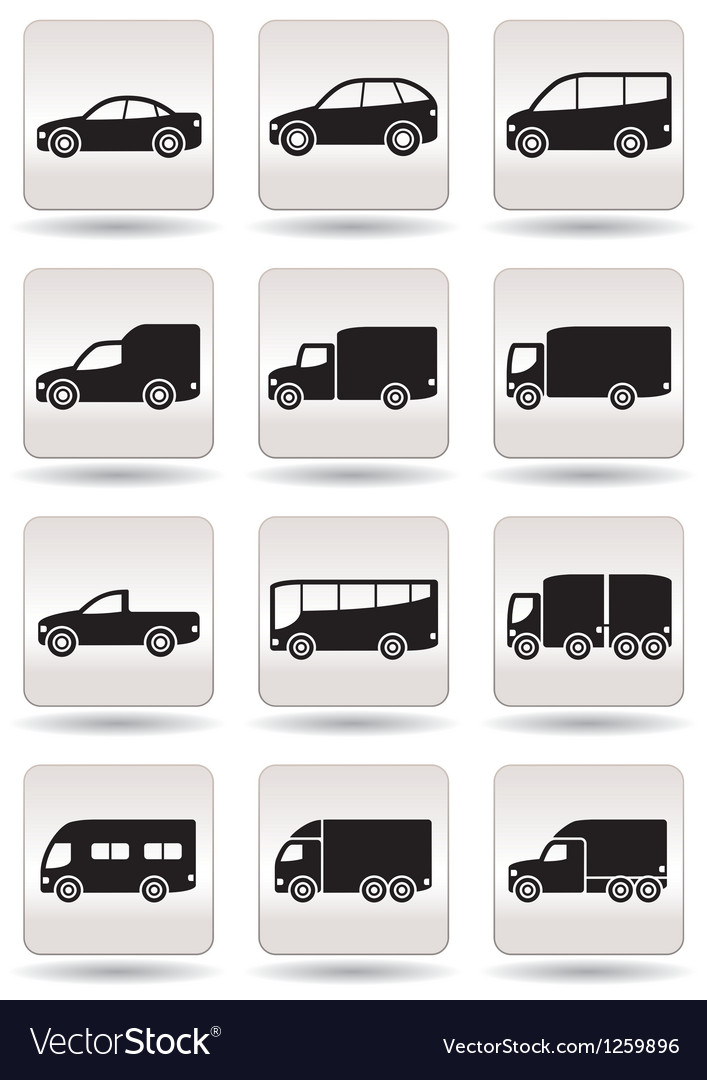 Road transport icons set vector | Price: 1 Credit (USD $1)