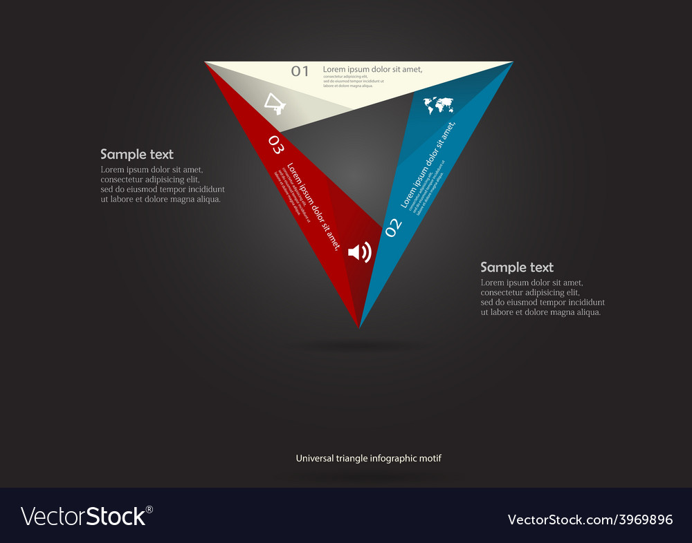 Triangle motif infographic placed on black vector