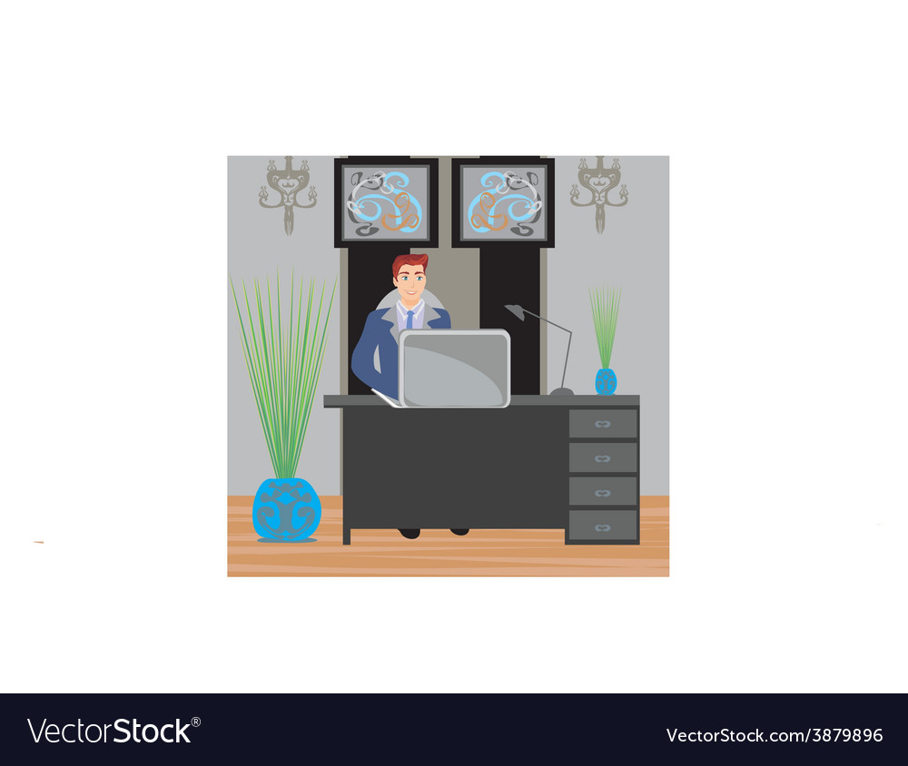 Young businessman in his office vector | Price: 1 Credit (USD $1)