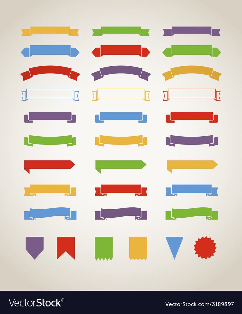Different retro style red ribbons set isolated on vector | Price: 1 Credit (USD $1)