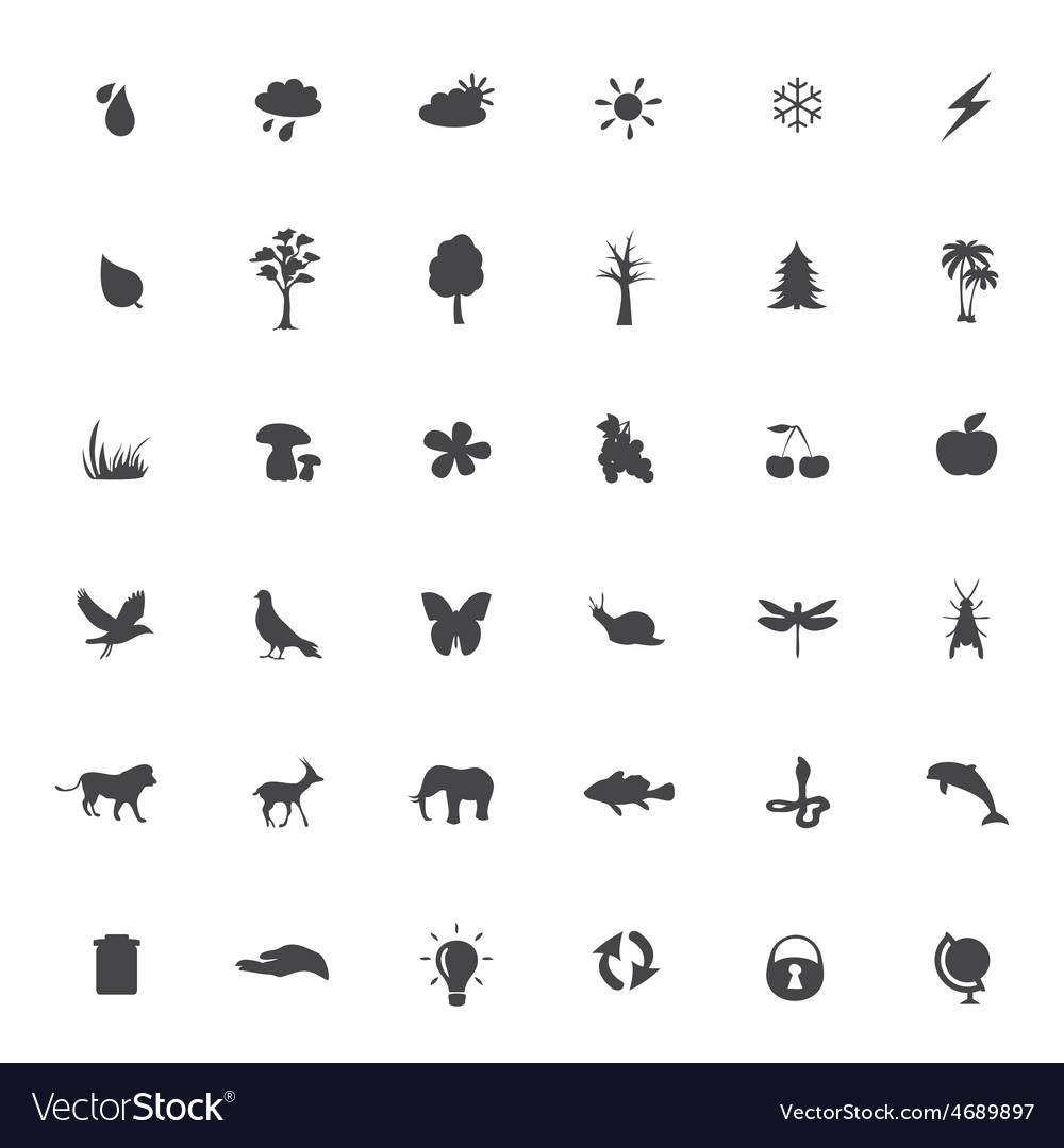 Eco icons set on white background vector | Price: 1 Credit (USD $1)