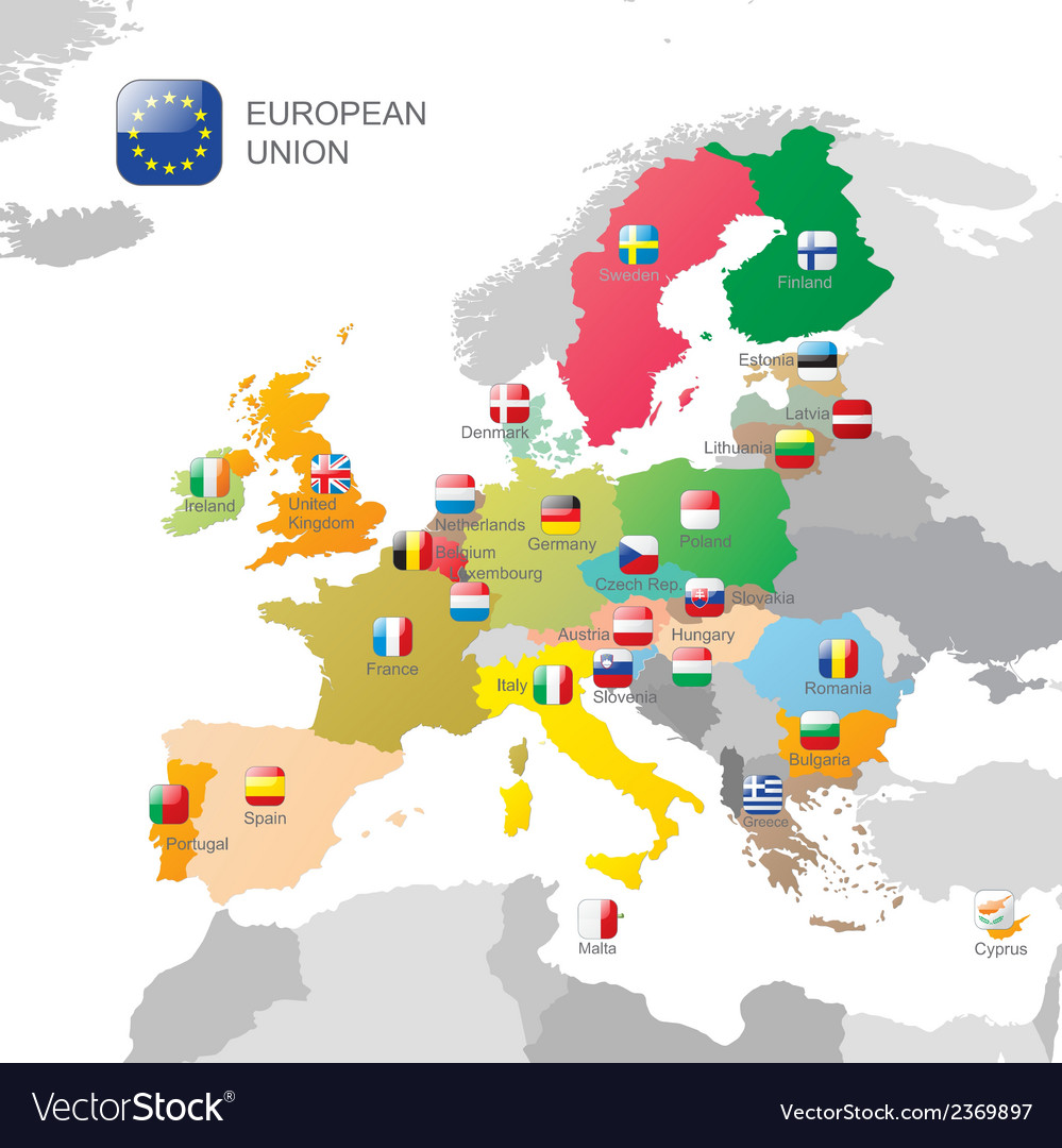 The european union map vector | Price: 1 Credit (USD $1)