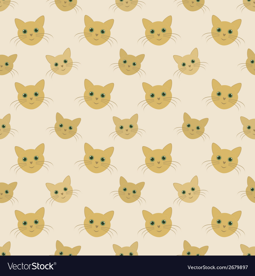 Faces of yellow cats - seamless kid pattern vector | Price: 1 Credit (USD $1)