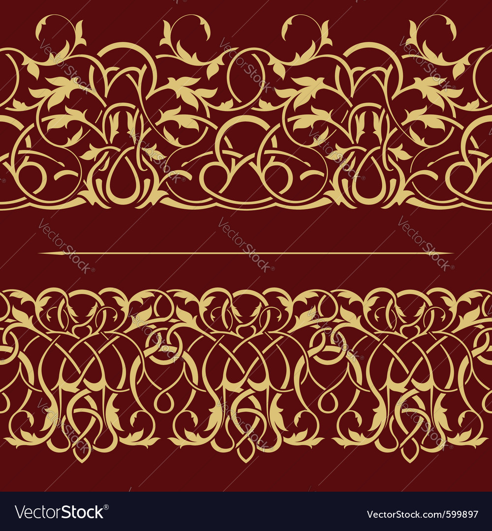 Gold floral seamless border vector | Price: 1 Credit (USD $1)