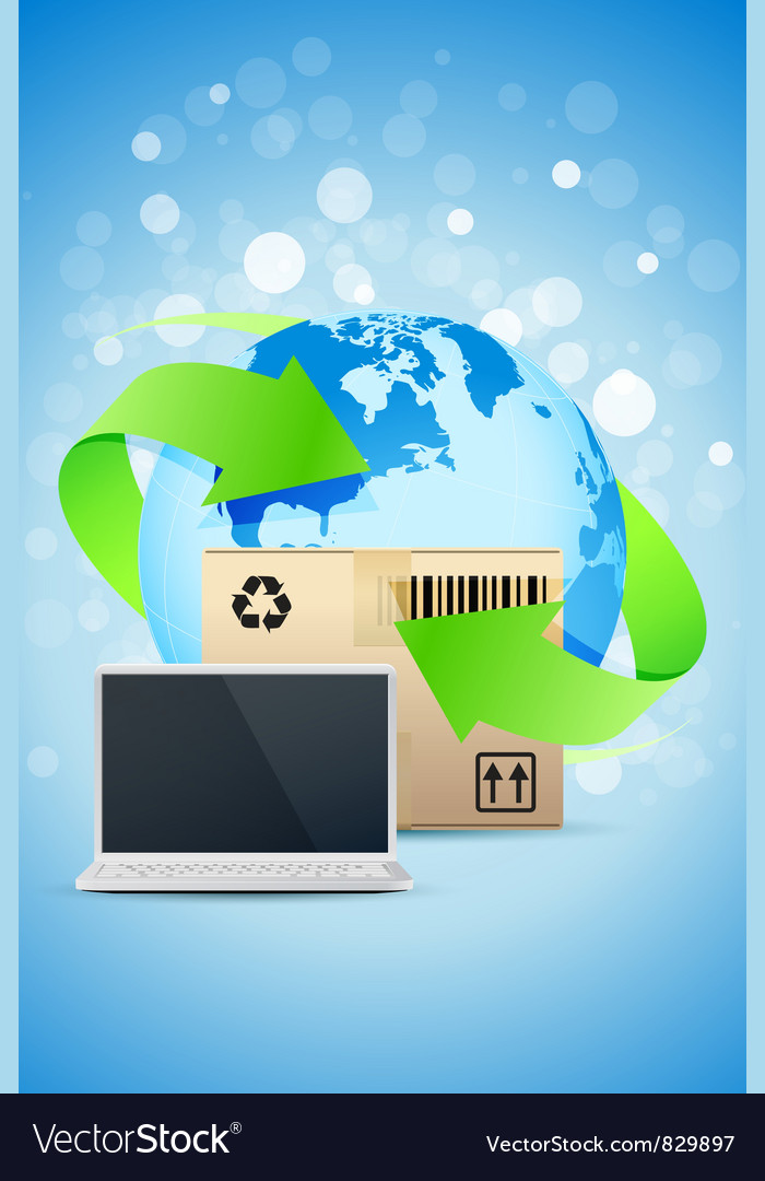 Laptop with earth globe and cardboard box vector | Price: 3 Credit (USD $3)