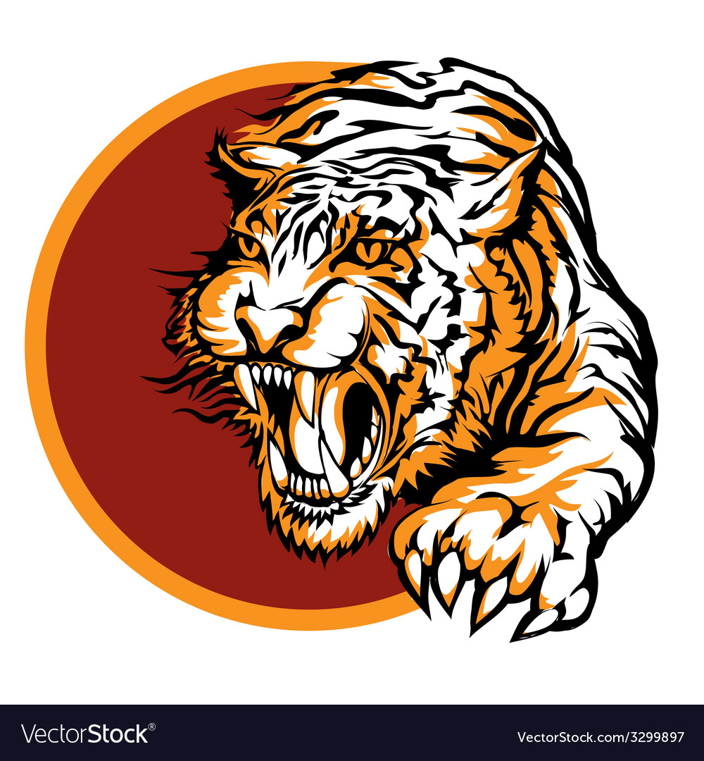 Roaring tiger logo design vector | Price: 3 Credit (USD $3)