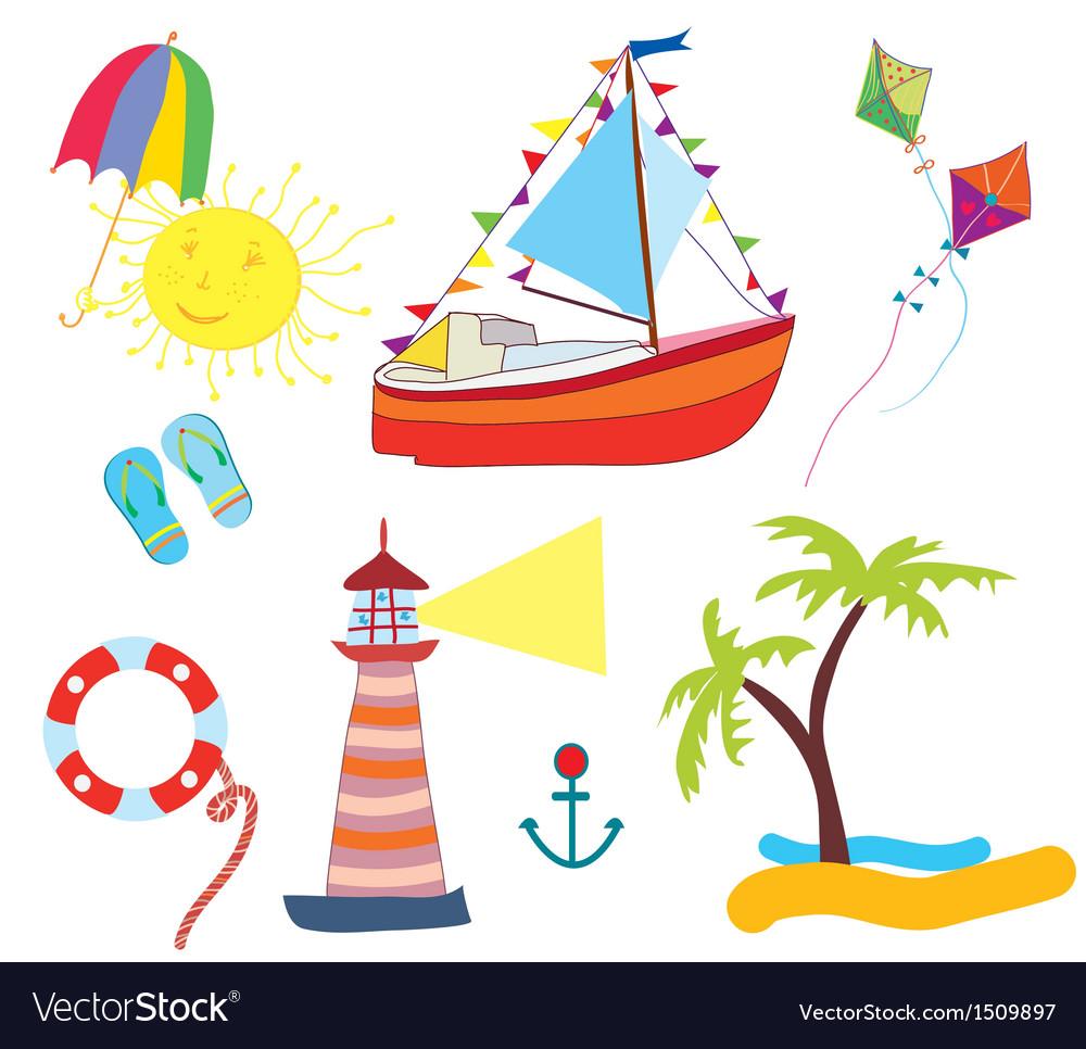 Sea icons set funny vector | Price: 1 Credit (USD $1)