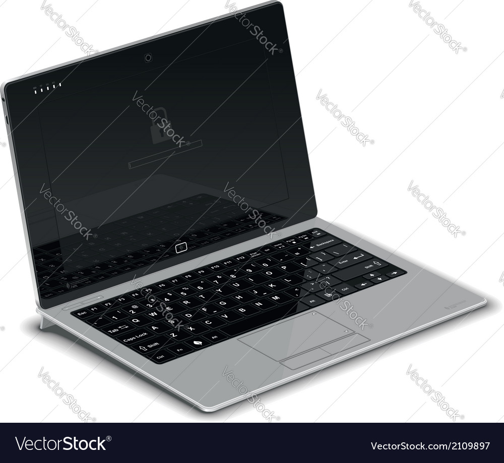 Tablet left side view with silver keyboard dock vector | Price: 1 Credit (USD $1)