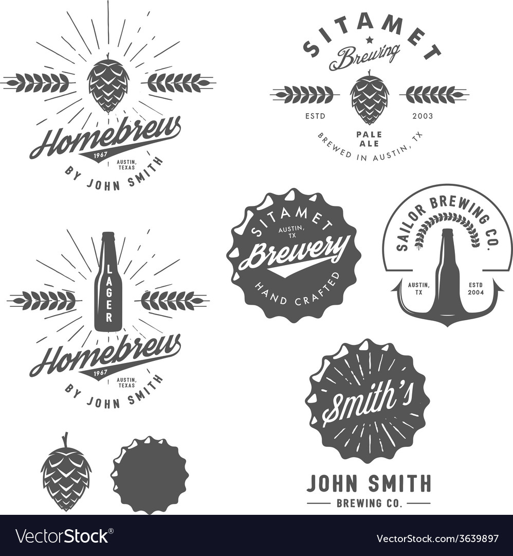 Vintage brewery logos labels and design elements vector | Price: 1 Credit (USD $1)