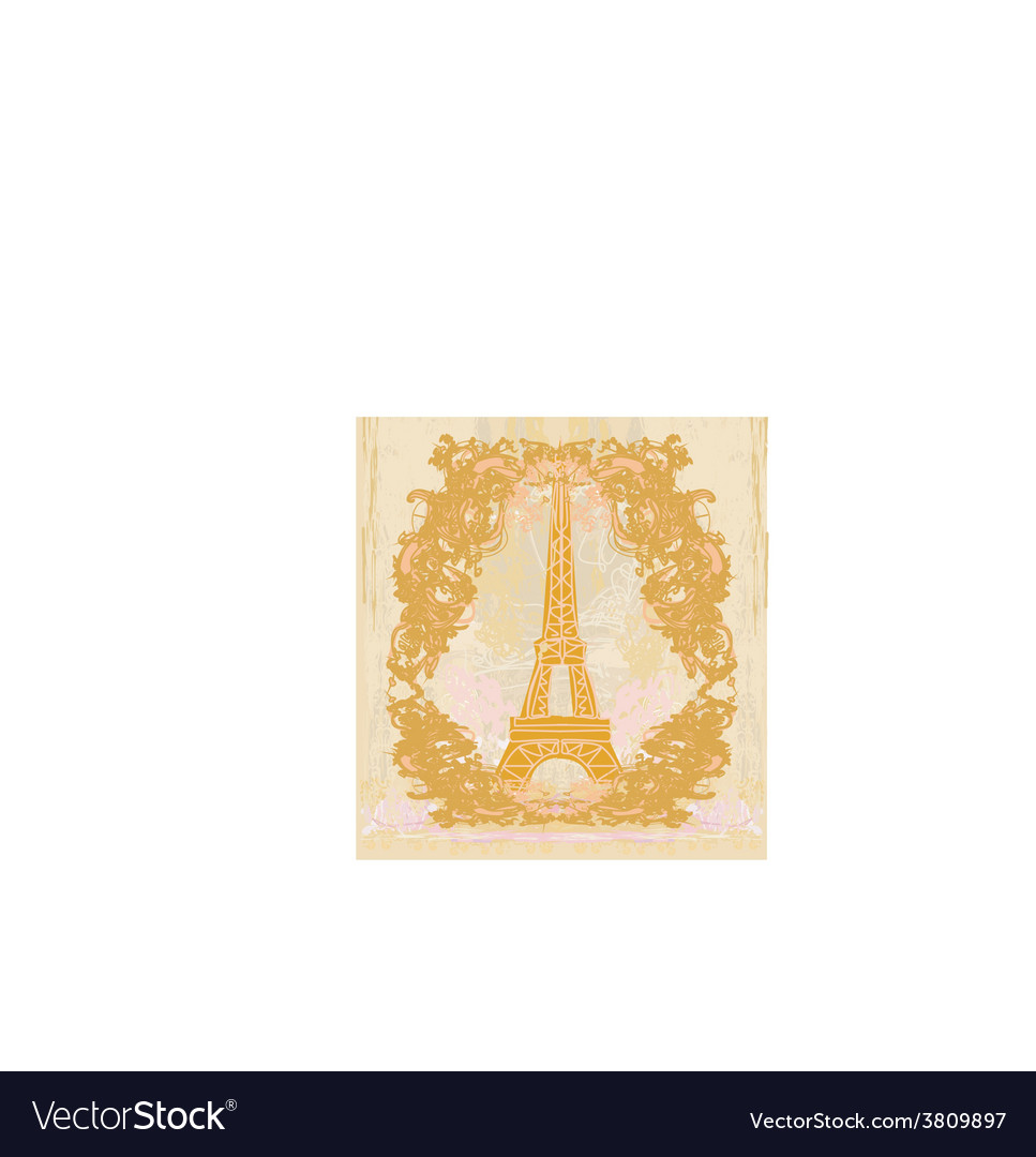 Vintage retro eiffel card vector | Price: 1 Credit (USD $1)