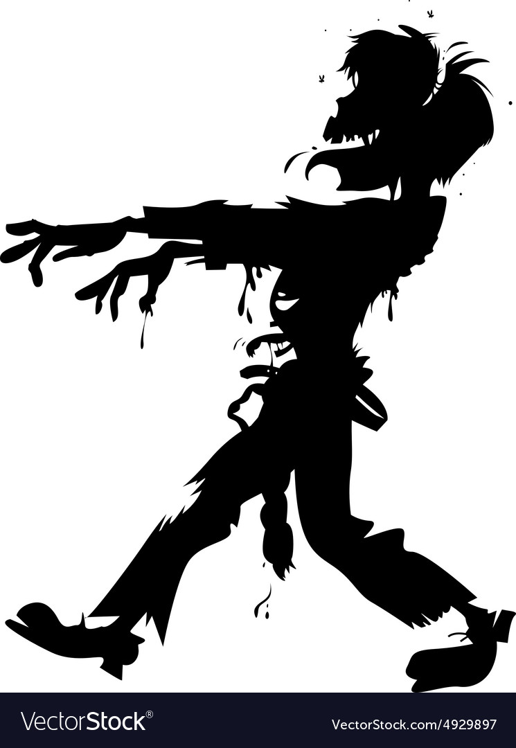 Walking zombie silhouette vector
