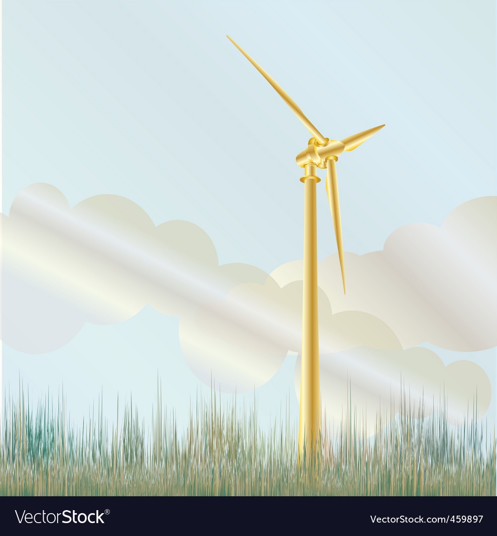 Wind turbine in field vector | Price: 1 Credit (USD $1)