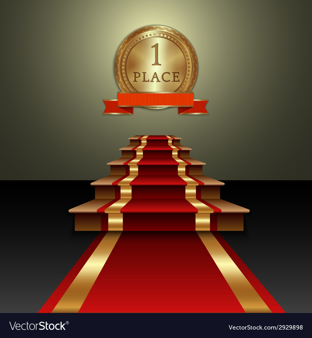 Abstract of red carpet and first place gold medal vector | Price: 1 Credit (USD $1)