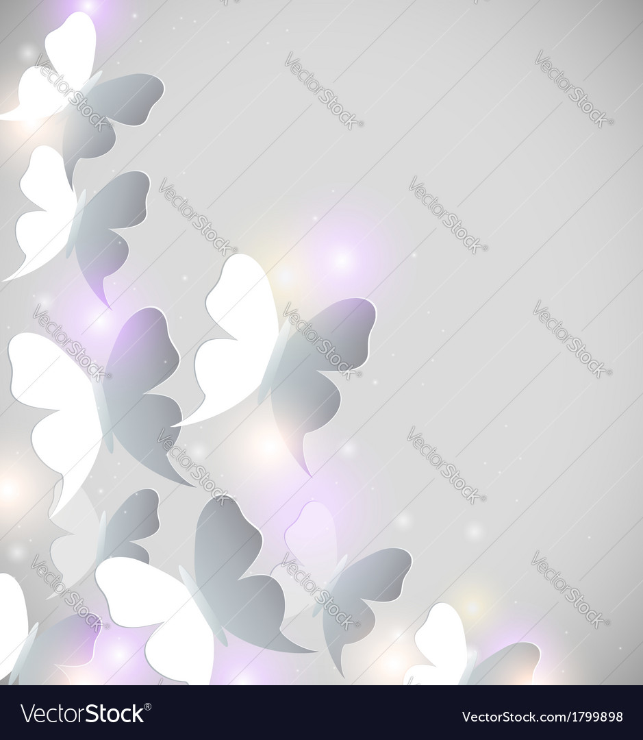 Abstract shining background with butterflies vector | Price: 1 Credit (USD $1)