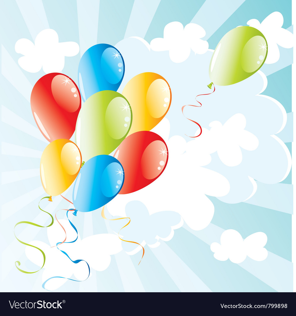 Balloons flying in the sky vector | Price: 1 Credit (USD $1)