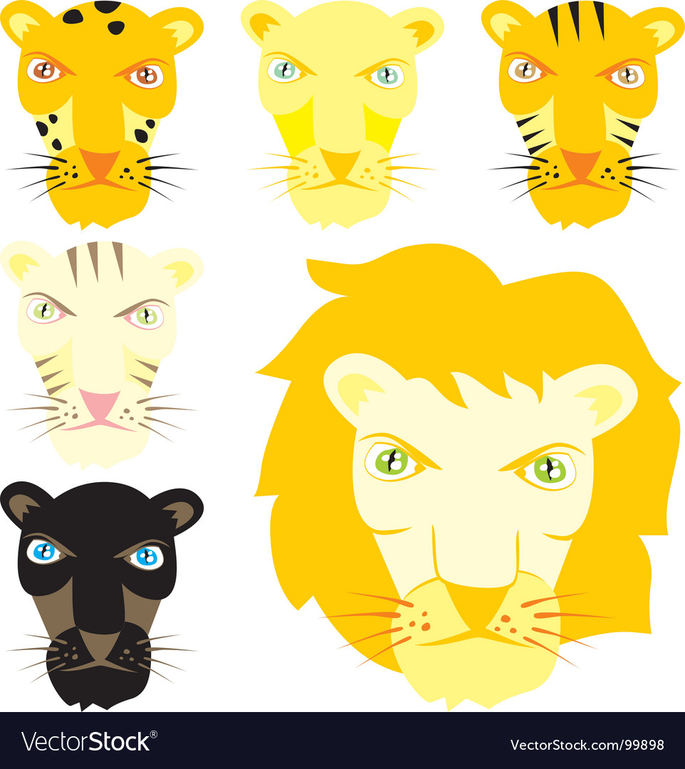 Feline heads vector | Price: 1 Credit (USD $1)