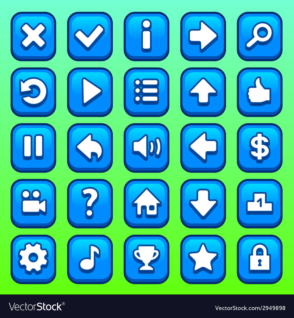 Game blue square buttons set vector | Price: 1 Credit (USD $1)