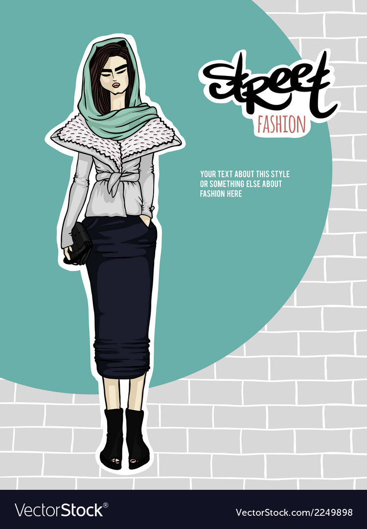 Girl street fashion look vector | Price: 1 Credit (USD $1)