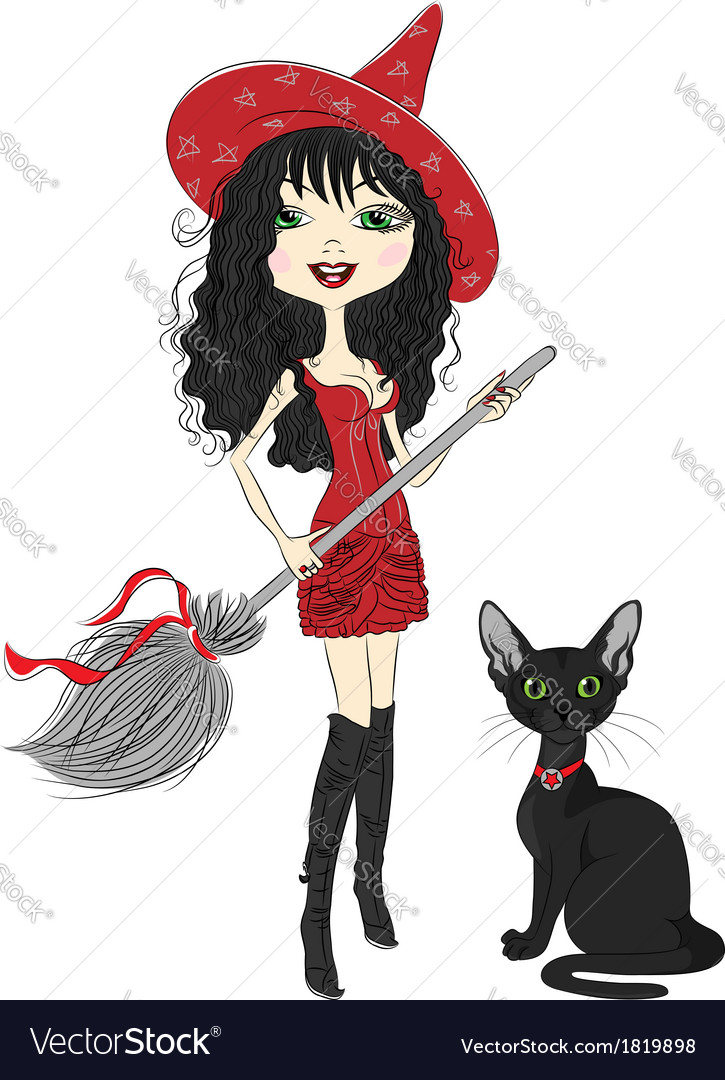 Girl witch with broom and black cat vector | Price: 1 Credit (USD $1)