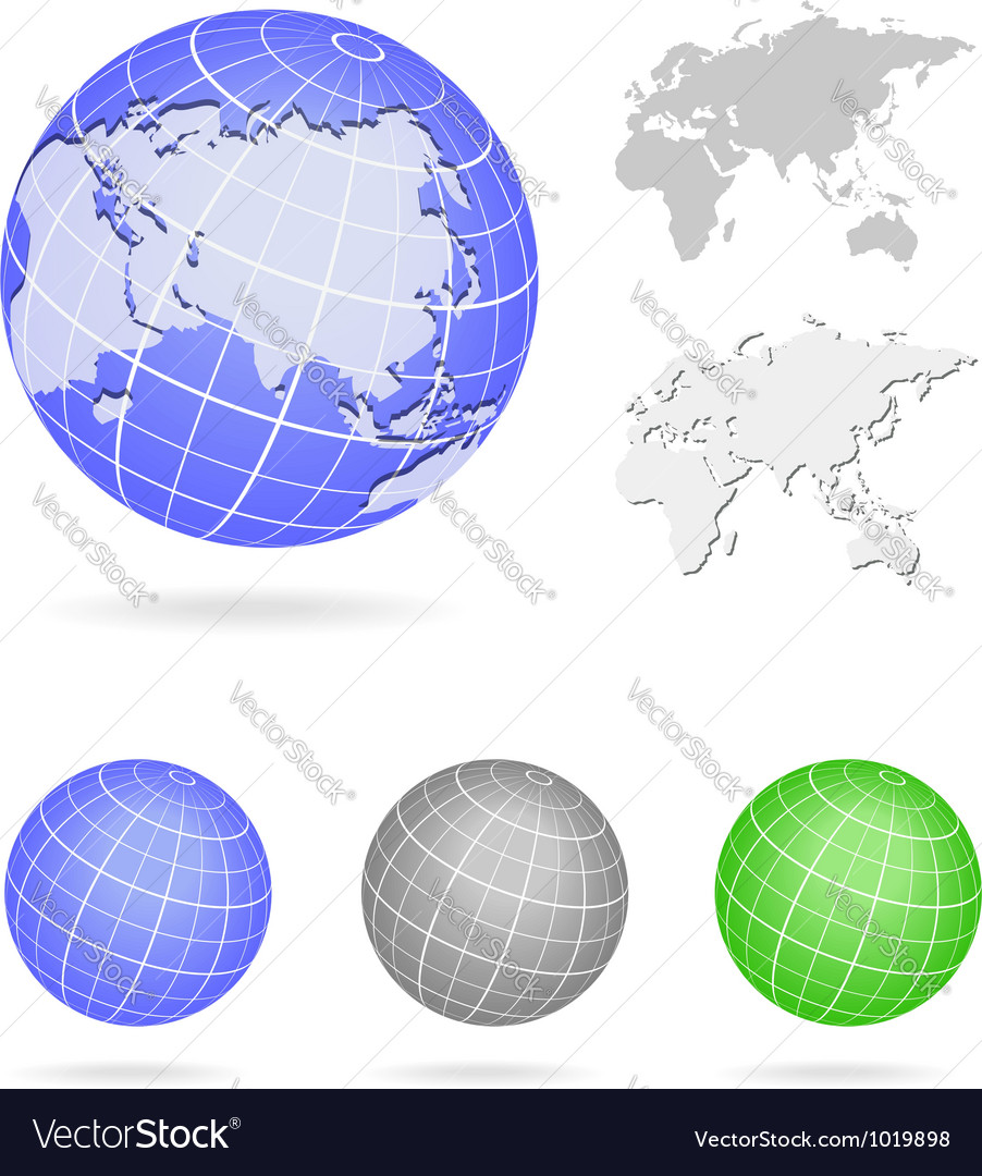 Globe europe and asia map blue icon vector | Price: 1 Credit (USD $1)