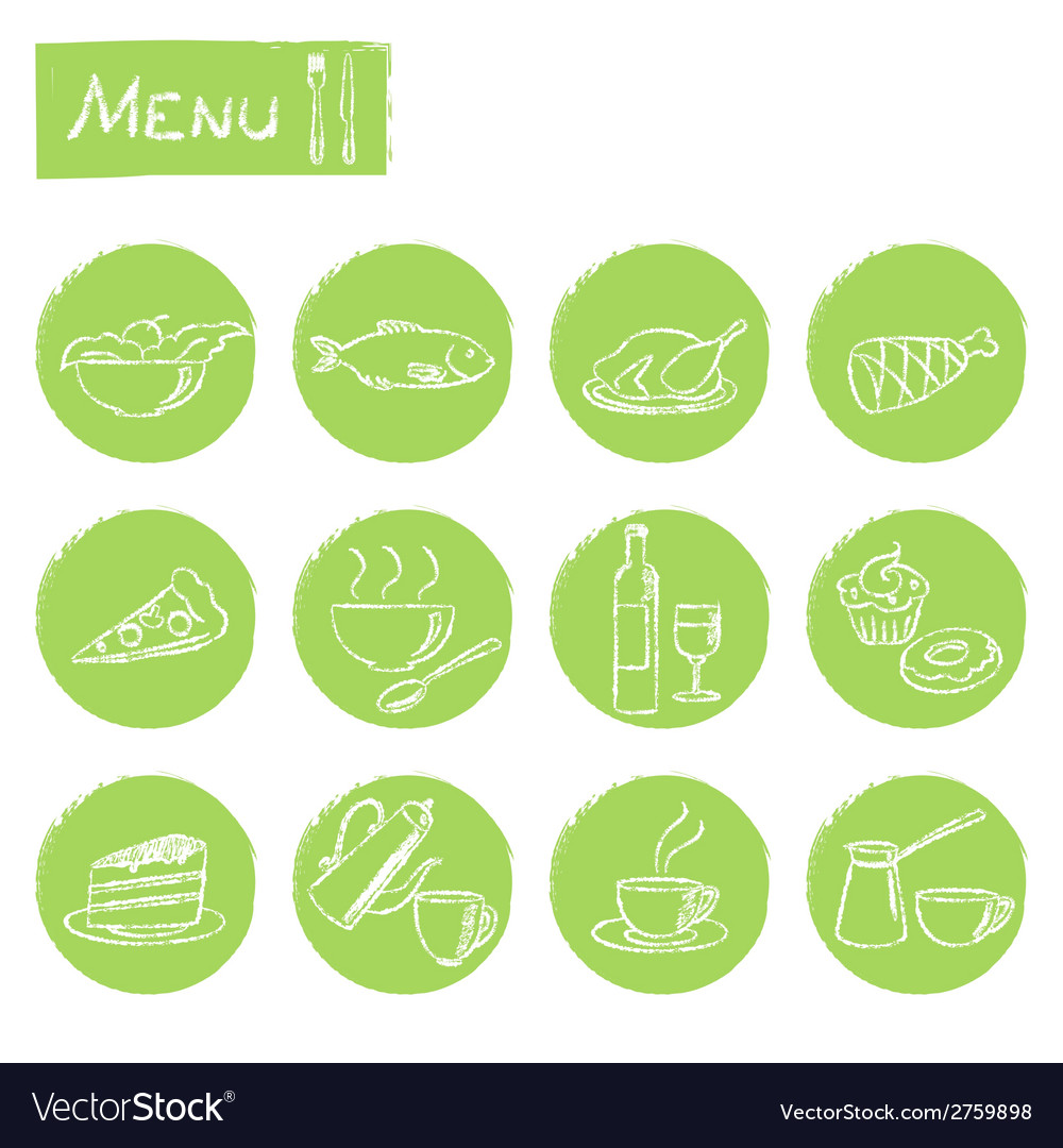 Hand drawn menu elements set vector | Price: 1 Credit (USD $1)