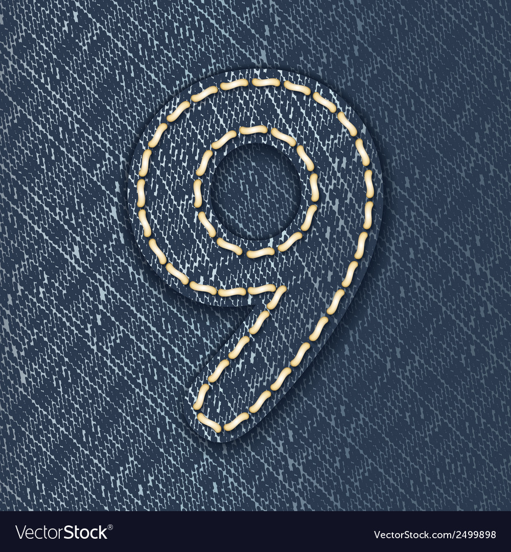 Number 9 made from jeans fabric vector | Price: 1 Credit (USD $1)