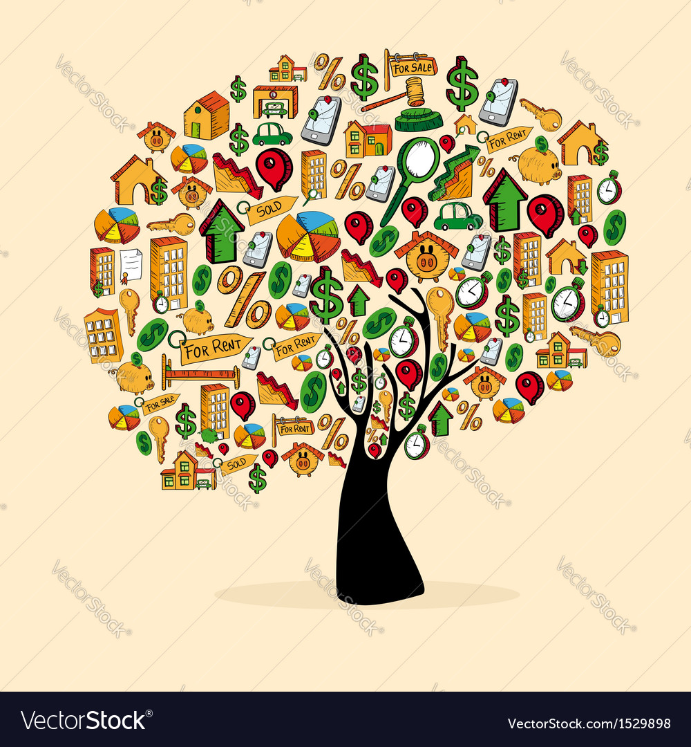 Real estate symbols in a tree shape vector | Price: 1 Credit (USD $1)