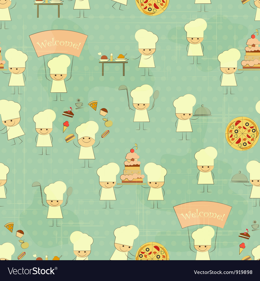 Seamless food background with fun chefs vector | Price: 1 Credit (USD $1)