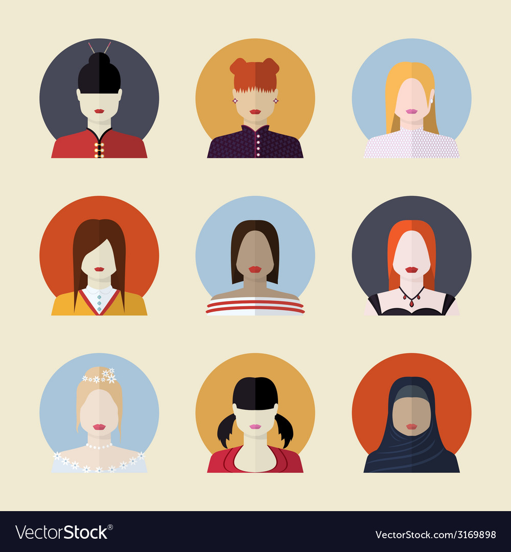 Set of women avatars different nationalities in vector | Price: 1 Credit (USD $1)