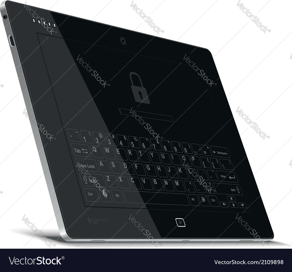 Tablet left side view leaning back vector | Price: 1 Credit (USD $1)