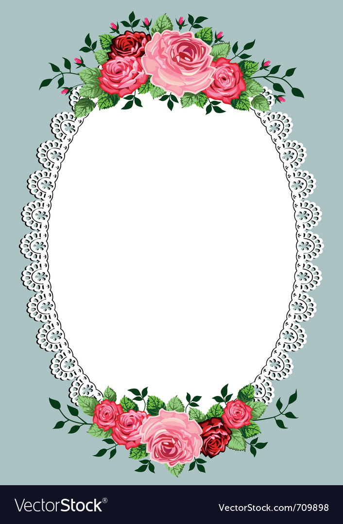 Vintage roses oval frame vector | Price: 1 Credit (USD $1)