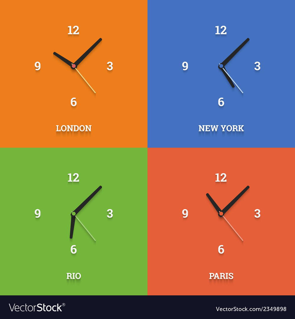 World time clocks in flat style on color squares vector | Price: 1 Credit (USD $1)