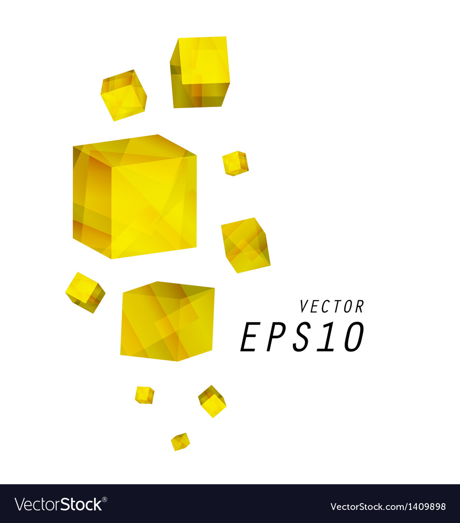 Yellow cube background vector