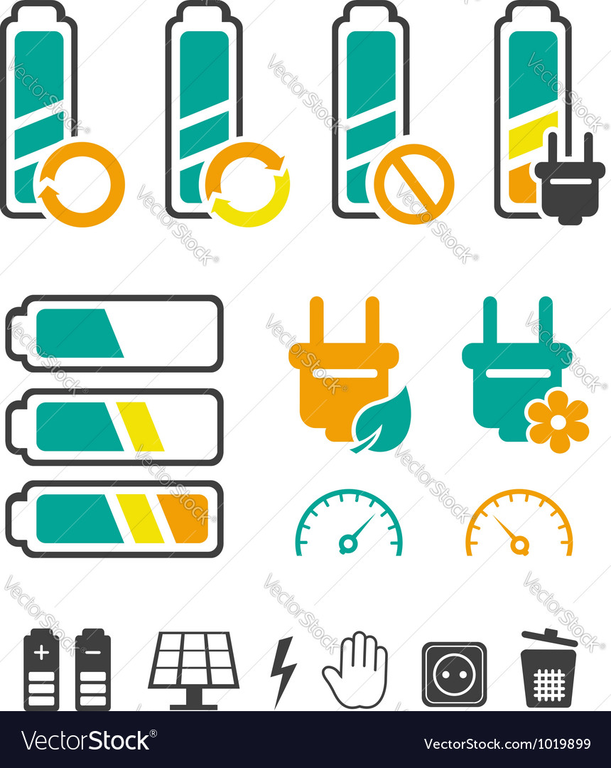 Battery recycling pictograms set vector | Price:  Credit (USD $)
