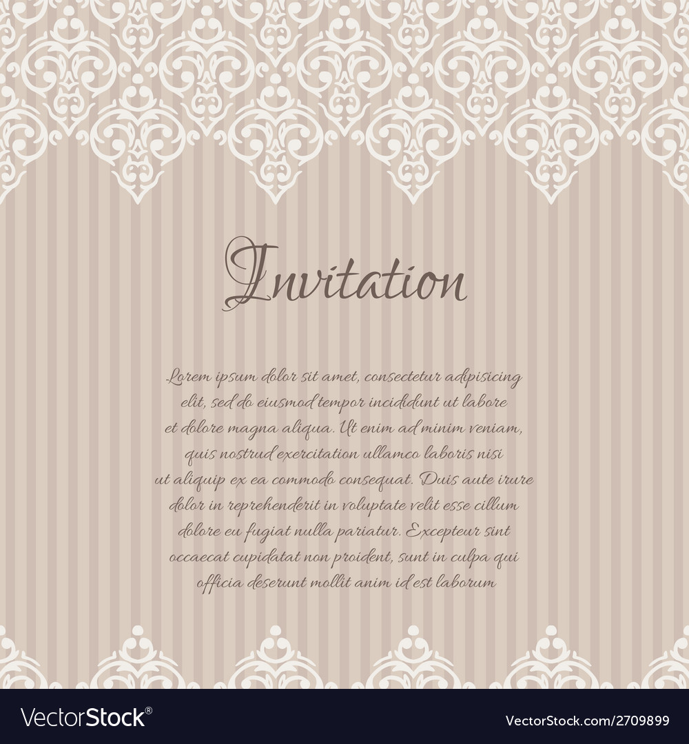 Beige baroque damask invitation blank with a place vector | Price: 1 Credit (USD $1)