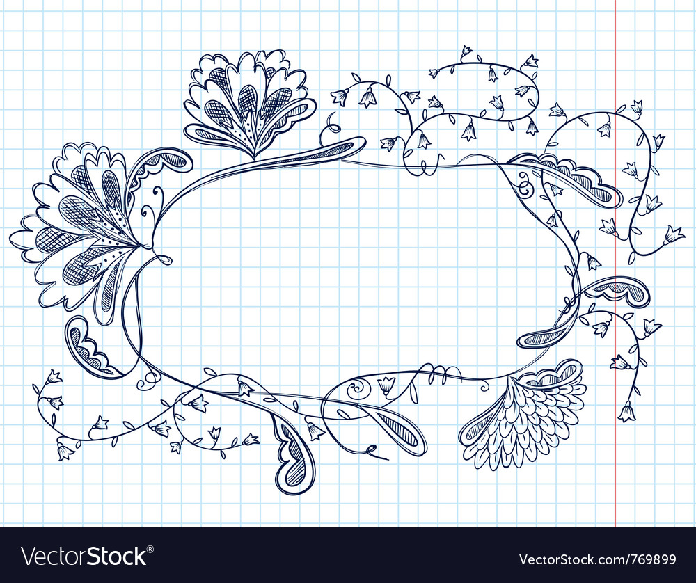 Cute doodle floral abstract frame vector | Price: 1 Credit (USD $1)