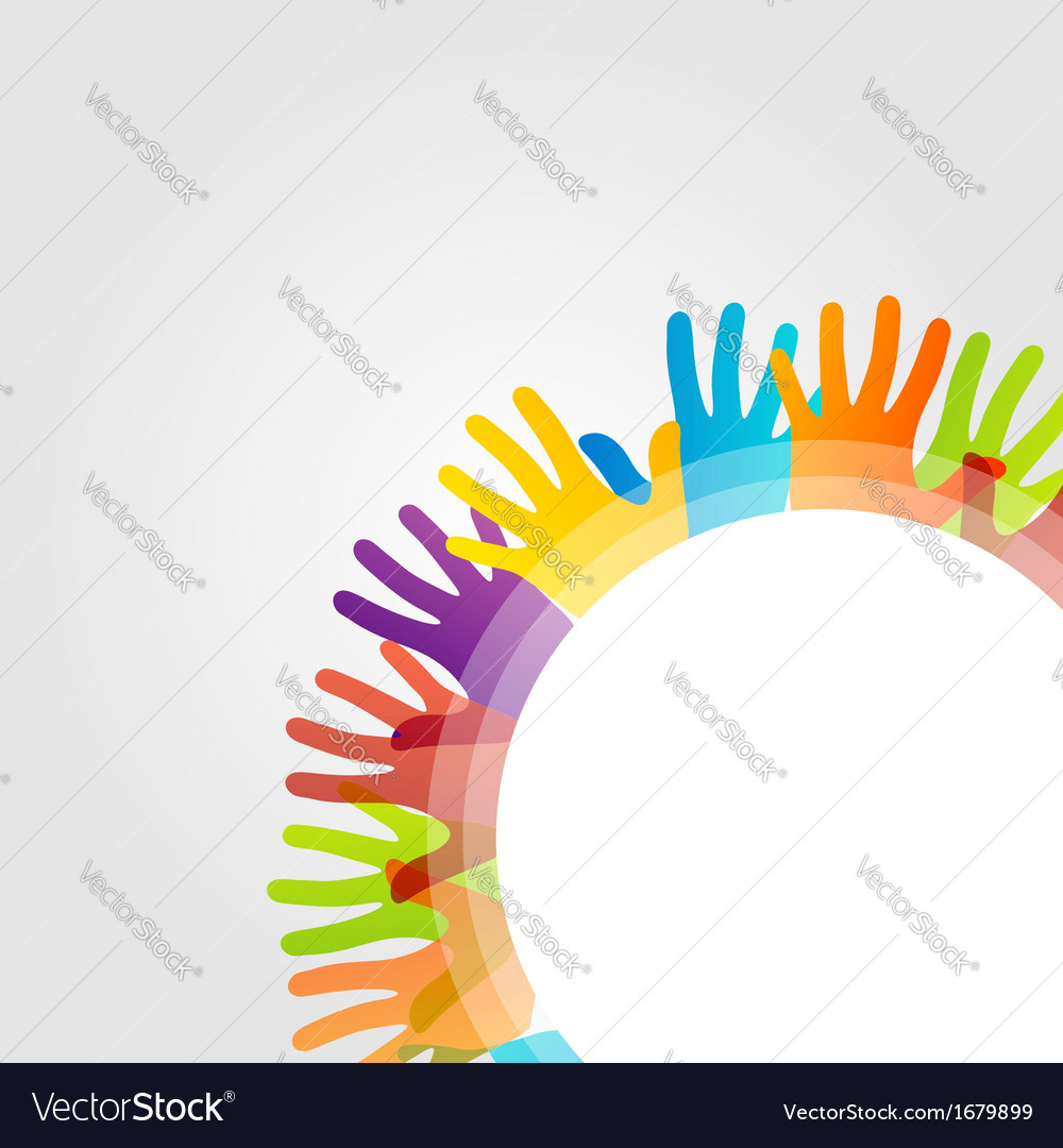 Design element with colorful hands vector | Price: 1 Credit (USD $1)