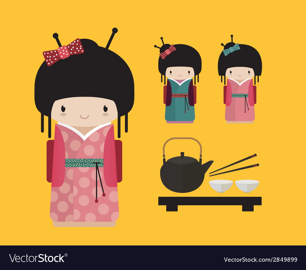 Kokeshi doll in kimono with traditional japanese vector | Price: 1 Credit (USD $1)