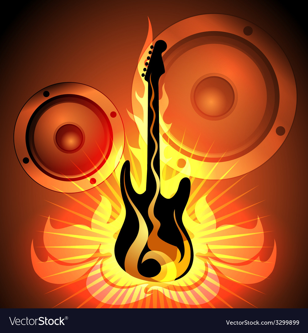 Music theme with flaming guitar vector | Price: 1 Credit (USD $1)